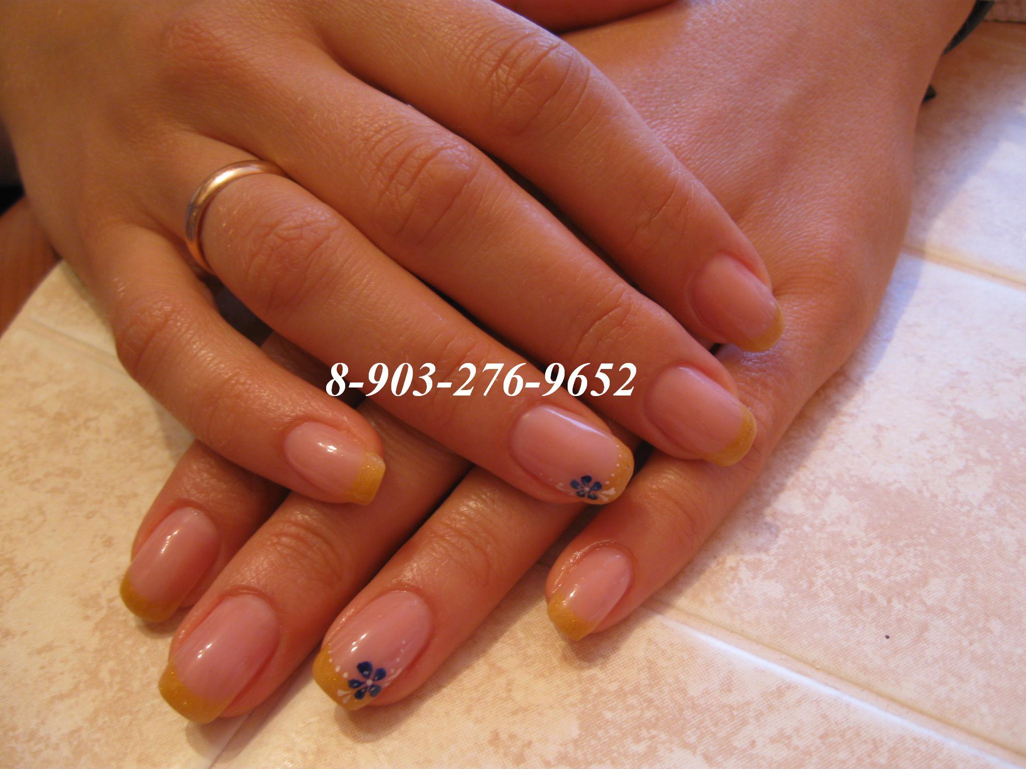 Нарощенные ногти гель лаком френч фото